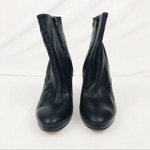Anne Klein Shoes - Black Leather Ankle Heeled Booties Size 9